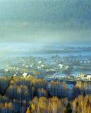 Hemu, un piccolo villaggio in Xinjiang, Fotografia Stock Libera da Diritti