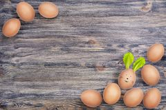 Hen's eggs on natural wooden background. One egg has Easter bunny funny face and ears made of salad leaves. royalty free stock photo