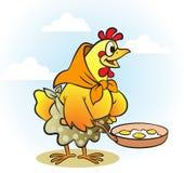 Hen. Comic hen cooking eggs in pan Stock Photo