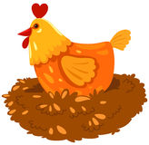 Hen. Illustration of isolated a hen on white background Royalty Free Stock Photography