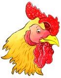 Hen. Smiling hen head made watercolor Royalty Free Stock Photos