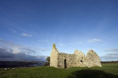 Hen Capel. An old chapel from the 12th century overlooking the Irish Sea Stock Photography