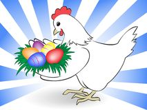 Hen carry Easter eggs Stock Photo