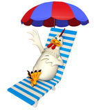 Hen cartoon character with beach chair. 3d rendered illustration of  Hen cartoon character with beach chair Royalty Free Stock Photo