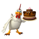 Hen cartoon character with cake Stock Images