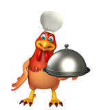 Hen cartoon character with chef hat and cloche Stock Image