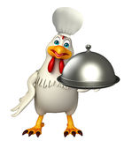 Hen cartoon character with chef hat and cloche Stock Photo