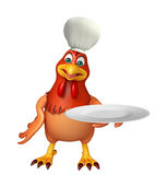 Hen cartoon character with chef hat  and dinner plate Royalty Free Stock Photos