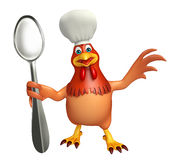 Hen cartoon character with chef hat and spoons Royalty Free Stock Photography