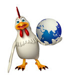 Hen cartoon character with earth Royalty Free Stock Photography