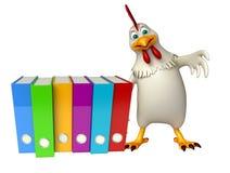 Hen cartoon character with files Stock Photos