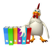Hen cartoon character with files Stock Photo
