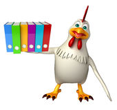 Hen cartoon character with files Royalty Free Stock Image