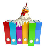 Hen cartoon character with files Stock Photography