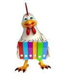 Hen cartoon character with files Royalty Free Stock Photo