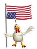 Hen cartoon character with flag Stock Photography