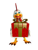 Hen cartoon character with giftbox Royalty Free Stock Photos