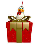 Hen cartoon character with giftbox Stock Photography