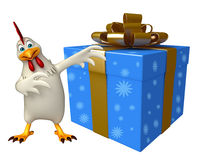 Hen cartoon character with giftbox Royalty Free Stock Photography