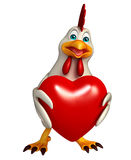 Hen cartoon character with heart Royalty Free Stock Images