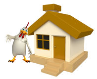 Hen cartoon character with home Stock Images