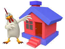 Hen cartoon character with home Stock Image