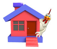 Hen cartoon character with home Stock Photography
