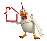 Hen cartoon character with home sign Stock Photography
