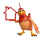 Hen cartoon character with home sign Royalty Free Stock Photos