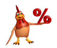Hen cartoon character  with percentage sign. 3d rendered illustration of Hen cartoon character  with percentage sign Stock Photos