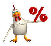 Hen cartoon character  with percentage sign. 3d rendered illustration of Hen cartoon character  with percentage sign Royalty Free Stock Photos