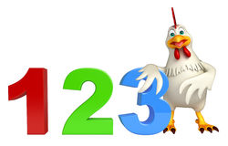 Hen cartoon character with 123 sign. 3d rendered illustration of Hen cartoon character with 123 sign royalty free illustration