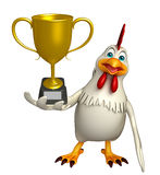 Hen cartoon character with winning cup Royalty Free Stock Photo