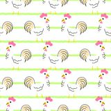 Hen cartoon seamless vector pattern. Stock Photography