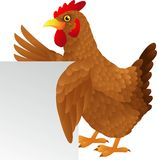 Hen cartoon waving Stock Photography