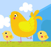 Hen with chick. A cute hen with chick,cartoon art Royalty Free Stock Photography