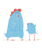Hen and chicken childish cartoon Royalty Free Stock Photography