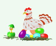 Hen and chicken with Easter eggs. Royalty Free Stock Photography