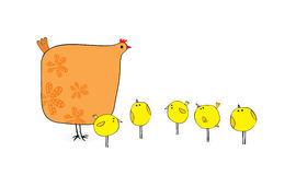 Hen And Chickens. Hen and her five chickens walking stock illustration