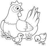 Hen and Chicks royalty free illustration