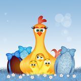 Hen and chicks with Easter eggs. Cute illustration of hen and chicks with Easter eggs Stock Photography