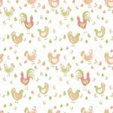 Hen and chicks seamless pattern Stock Photos