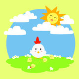 Hen and Chicks Vector Illustration. Mother hen looking after her little chick, under the sunlight in the meadow Royalty Free Stock Image