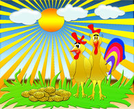 The Hen and cock near Royalty Free Stock Images