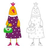 Hen. Coloring book vector illustration