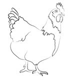 Hen Contour Silhouette. Hen Simplified Contour Silhouette isolated on white Stock Image