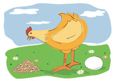 Hen_corn_egg. Hen with a egg an a corn on a meadow. Vector illustration available for download Stock Photography
