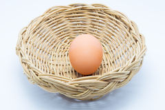Hen Egg in basket Royalty Free Stock Photo
