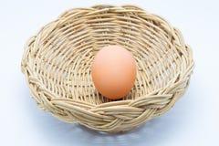 Hen Egg en cesta Foto de archivo libre de regalías