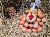 Hen egg on hay Royalty Free Stock Image
